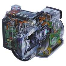 Řez digitálním fotoparátem Minolta DiMAGE 7i