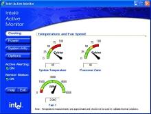 Údaje o teplotě systému a procesoru při velké zátěži