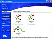 Údaje o teplotě systému a procesoru v klidovém stavu