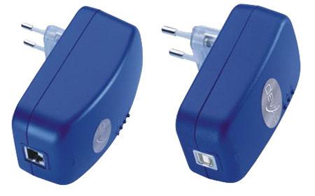 Vlevo adaptér pro RJ45 vpravo pak pro USB