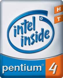 Logo procesoru Intel Pentium 4 s technologií Hyper-Threadingem