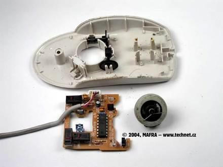 Kuličková myš – rozebraná