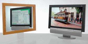 Dual-view LCD firmy Sharp nabízí dva obrazy na jednom LCD (druhý se odráží v zrcadle) .