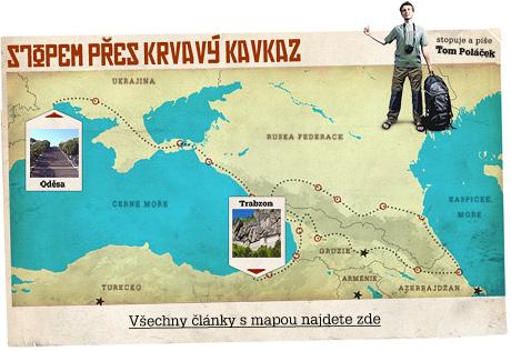 Ilustrační mapa - Stopem přes krvavý Kavkaz, odkaz vede na všechny články s mapou