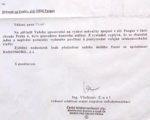 Takto vypadá faximile potvrzení oprávněnosti stížnosti z ČTÚ