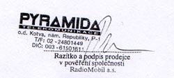 Potvrzený záruční list s podezřelým telefonem byl od Pyramidy na RadioMobil.
