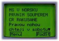 Příklad článku z Teletextu ČT1 - hokej.