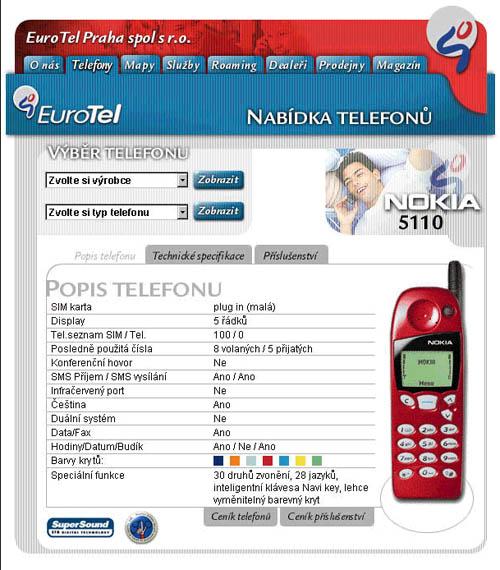 Výpis parametrů mobilního telefonu