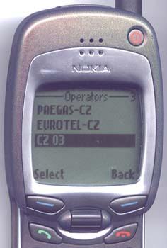 Výpis vech dostupných sítí. CZ 03 je sí Českého mobilu