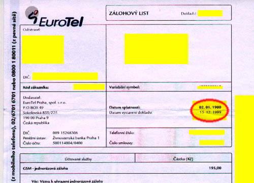 EuroTel Zálohový list s Y2K bugem