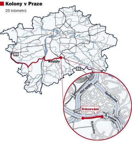 Ilustrační mapka - Kolony v Praze