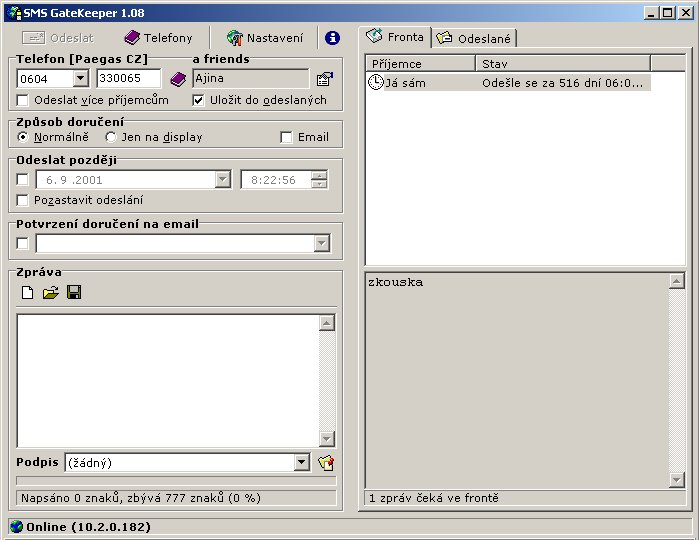 SMS sender GateKeeper