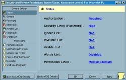 ICQ 2001b - možnosti zabezpečení