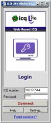 ICQ Lite - úvodní obrazovka