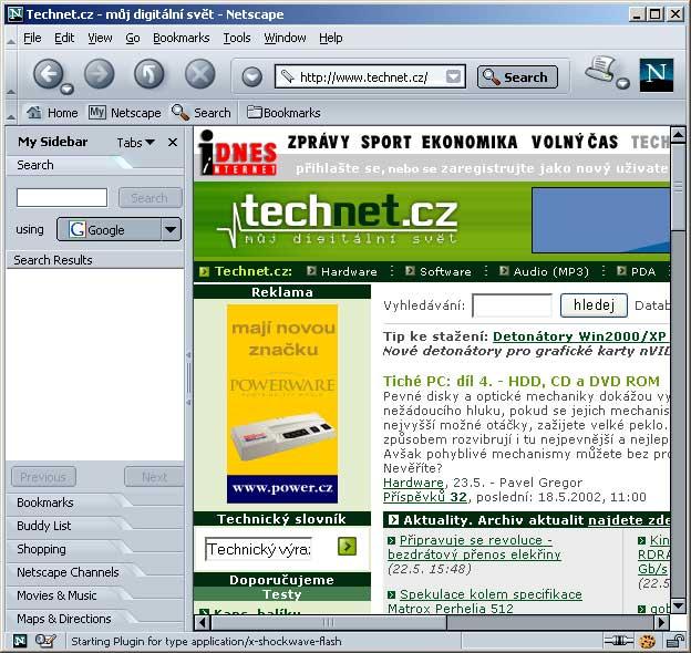 Netscape 7 a stránky Technet.cz