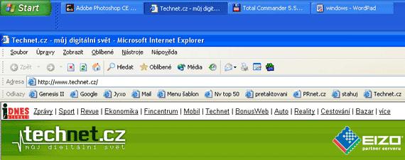 Hlavní panel Windows - lišta na horním okraji obrazovky