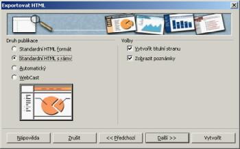 Velmi efektní a užitečný zároveň je export prezentace do webové podoby
