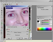 Panel odstranění 'červených očí' v Serif Photo Plus