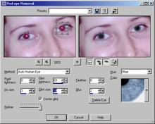 Panel odstranění 'červených očí' v Paint Shopu Pro 8