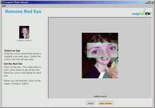 Panel odstranění 'červených očí' ve Snapfish Photo Wizardu