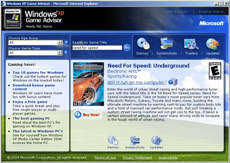 Windows XP Game Advisor