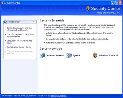 Windows Security Center v SP2 pro Windows XP