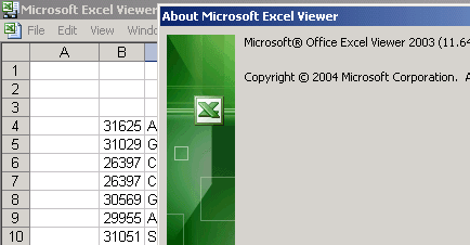 Microsoft Office Excel Viewer 2003