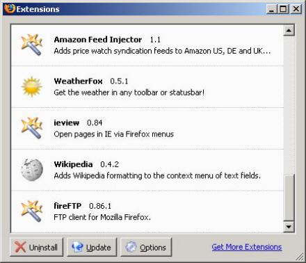 Výbava prohlížeče Firefox