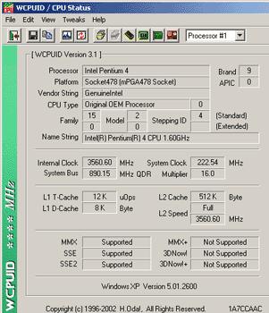 Intel Pentium 4 1.6 GHz na 3.5 GHz
