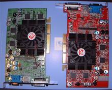 Karty postaveny na R350 (vpravo) a RV350