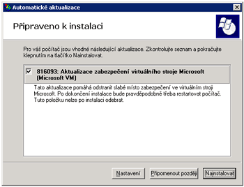 Chyba v Microsoft Virtual Machine