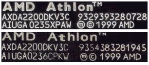 Přeznačkovaný štítek CPU Athlon XP 2200+