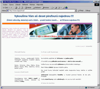 Mirror hacknutých stránek www.majasoft.net