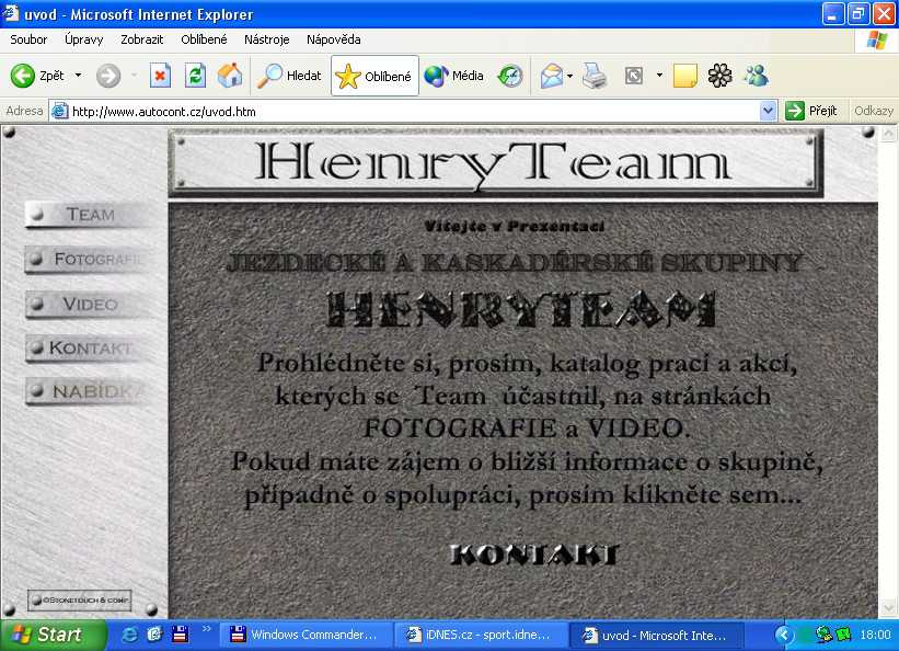 Stránky Henry Teamu na doméně autocont.cz