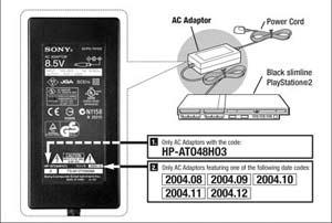 Vadný napájecí adaptér pro Sony PS2