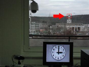 Pohled kamery na nemocnici v Krči