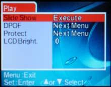 Digitální fotoaparát Umax 8330 - menu