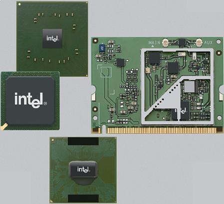 Sada Intel Centrino - procesor, �ipov� sada, bezdr�tov� adapt�r
